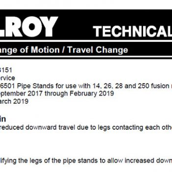 Technical bulletin released for pipe stand range of motion