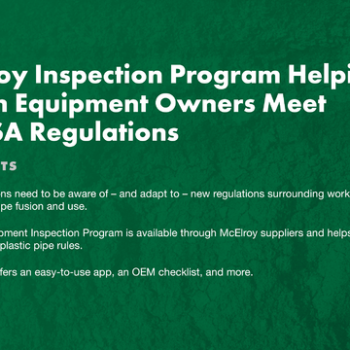 McElroy Inspection Program Helping Fusion Equipment Owners Meet PHMSA Regulations